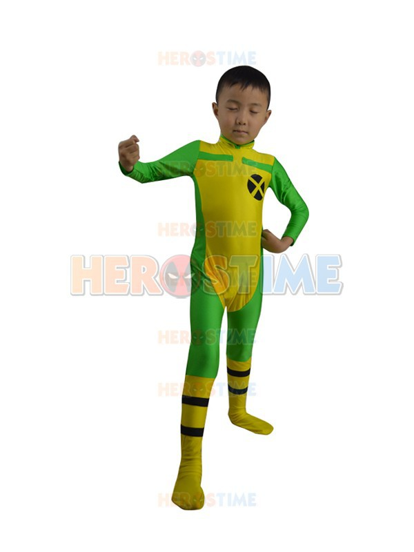 Kids X-men costume fullbody spandex Rogue Superhero Costumes halloween cosplay suit free shipping