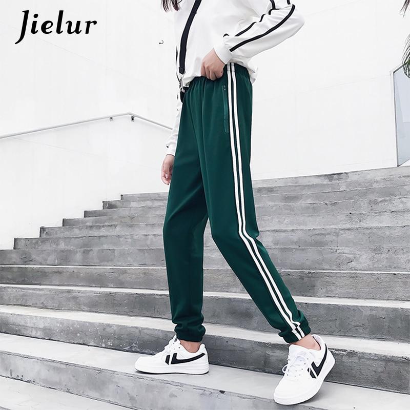Jielur 2019 Kpop Autumn Women's Pants Zipper Pockets Elastic Waist Female Trousers Pantalon Cool Sweatpants S-2XL Broeken Woman