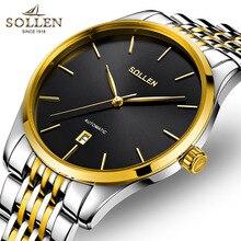 Top Brand Sollen Теги Часы Мужчины Роскошные золотые + черный Механические Часы мужской Моды из нержавеющей стали календарь Наручные Часы Montre