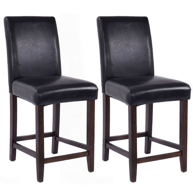 Giantex Set Of 2 Kitchen Bar Stools Padded Dining Height Wood Chairs Modern  Dining Room Room