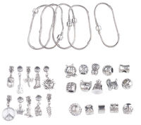 2 Lots European Style Dangler Stopper Bead Charm Bracelets #91433