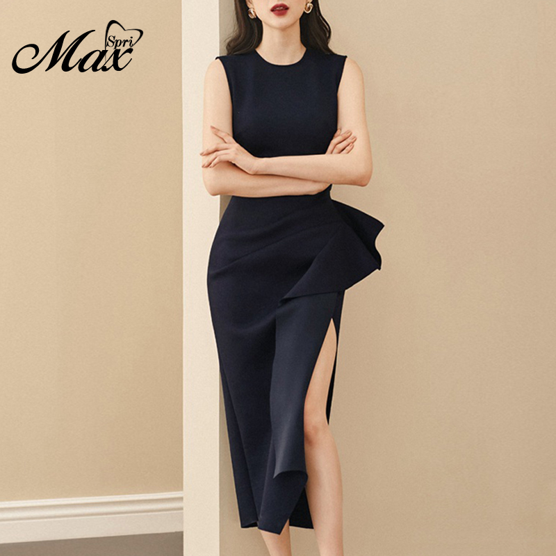 Max Spri 2019 Sexy Women Dress Elegant Chic Ruffles Sleeveless O Neck Bodycon Dress Party Club Summer Dress Vestidos New Hot INS