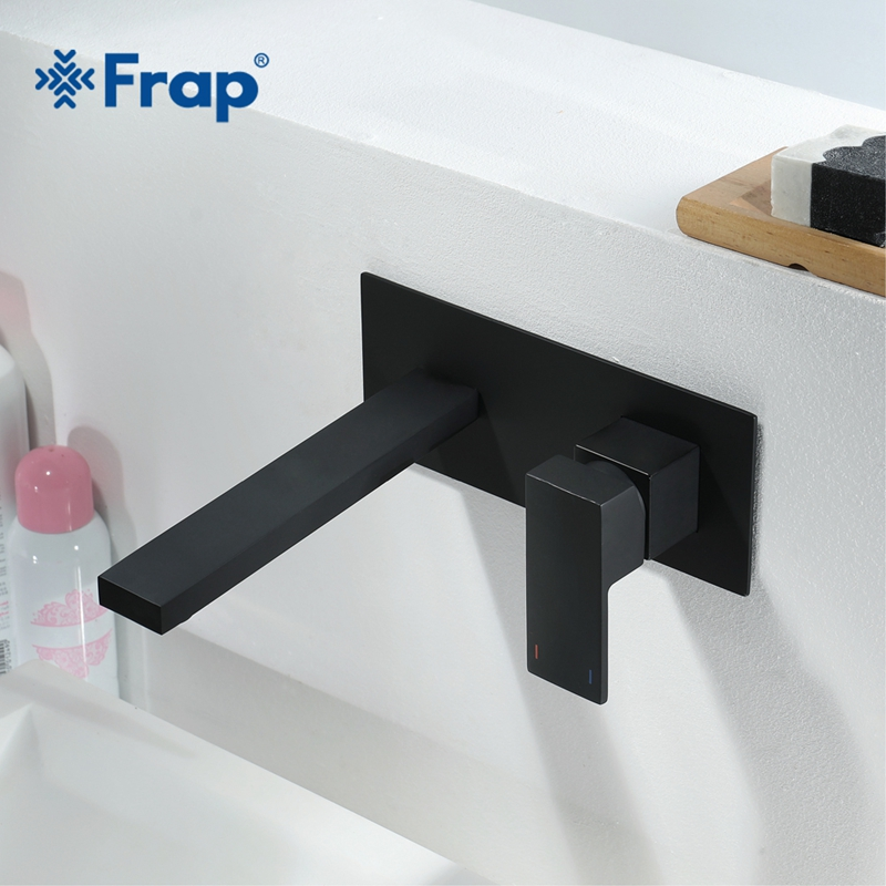 FRAP New Brass Basin Faucet Wall Mounted Tap Single Handle Bathroom water Mixer Tap Hot Cold Sink Faucet Matte black Y10167 fyparf waterfall bathroom faucet single handle sink faucet hot cold bathroom water mixer tap brass wall mounted basin faucets