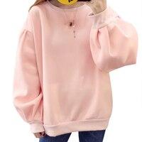 Warm Women Oversize Hoodies Sweatshirts Autumn Winter Solid Color Fleece Puff Sleeve Loose Pullover