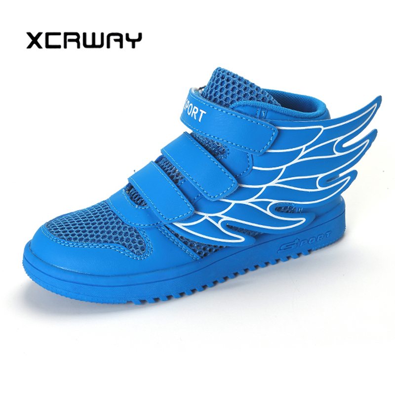 XCRWAY Boys Winged Shoes 2019 Kids White Boots Big Boy School Running Sneakers Children Trainers Boots Casual Hook Shoes 26-37