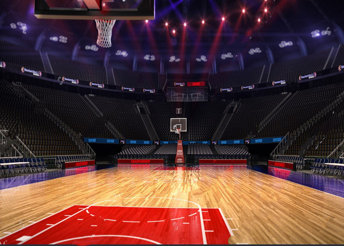 Bright Indoor Basketball Court Sport Arena Light Backdrop