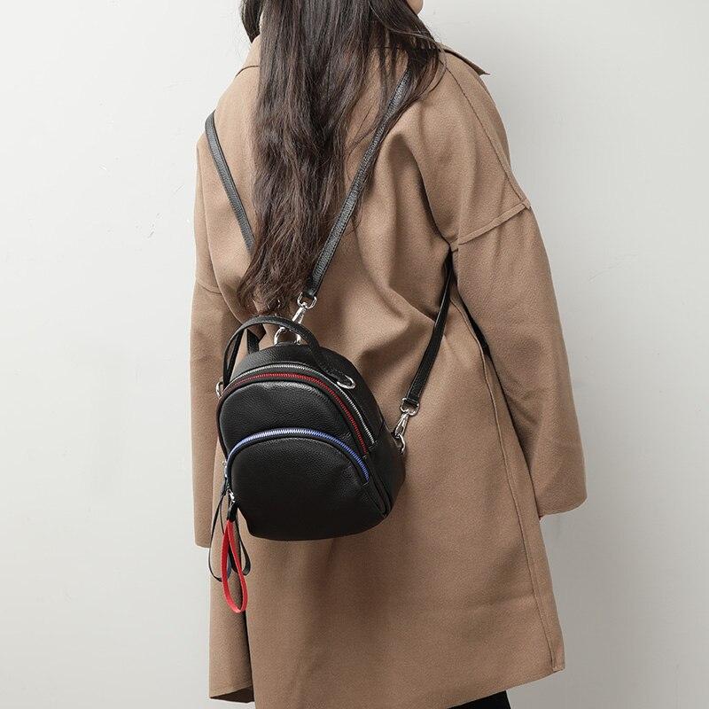 2019 春のコントラスト色牛革女性バッグパック韓国ソフトレザーミニバックパックプレッピースタイルガールスクールバッグ 3 ストラップ  グループ上の スーツケース & バッグ からの バックパック の中 2