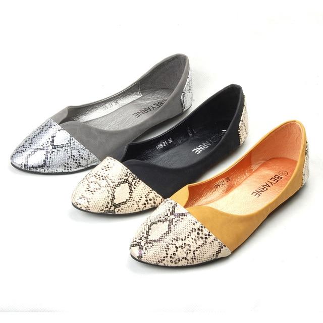 Silver/Black Pointy Toe Ballerina Ballet Flats Slip-On Shoes Size 9
