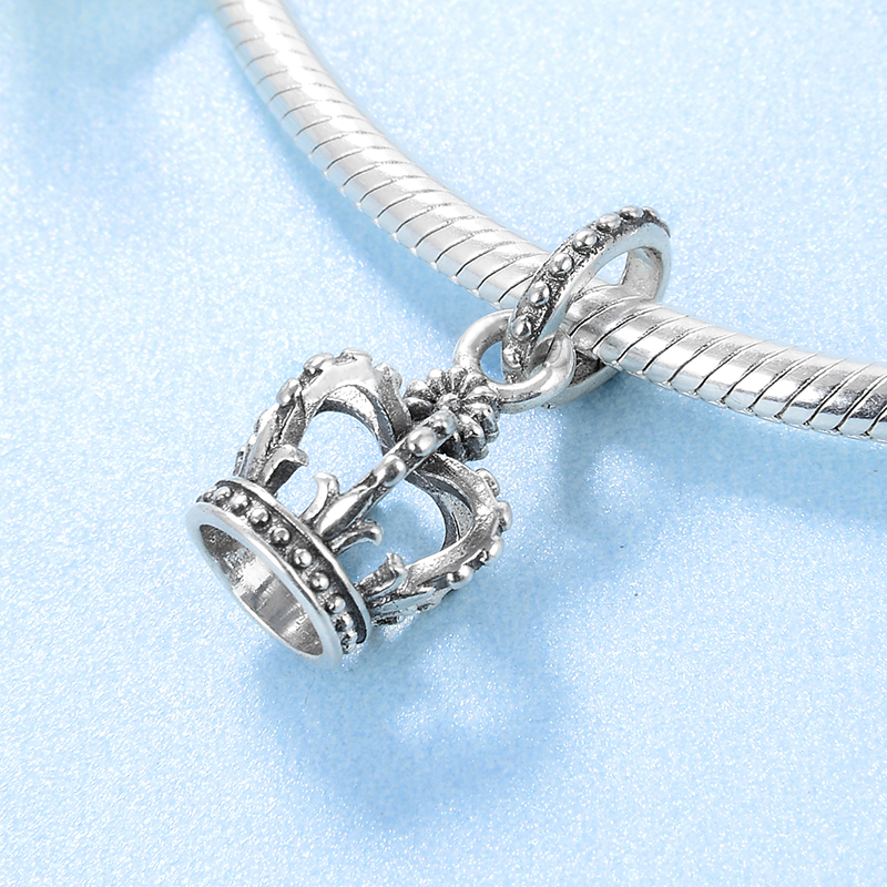 Fashion luxury 925 Sterling Silver queen crown Fine Pendants Fit Original Pandora Charm Bracelet Jewelry making Fashion luxury 925 Sterling Silver queen crown Fine Pendants Fit Original Pandora Charm Bracelet Jewelry making