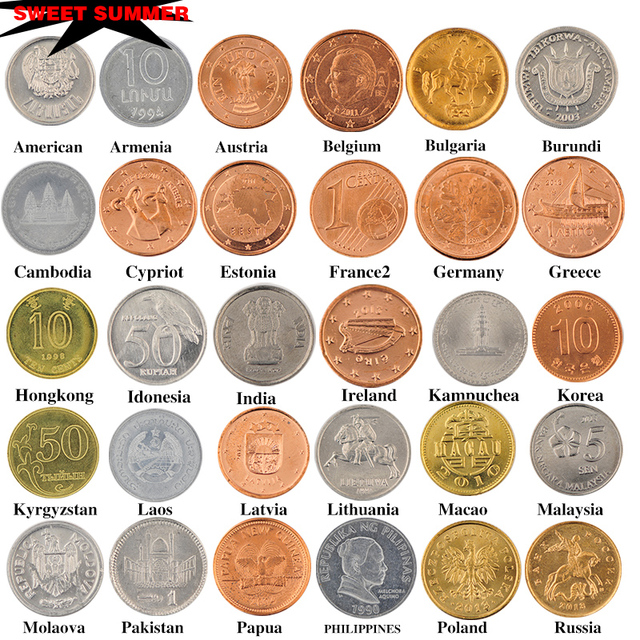 Coin Collection For Sale >> Free Shipping Sale 30 Coins Collection Set From 30 Countries Fine