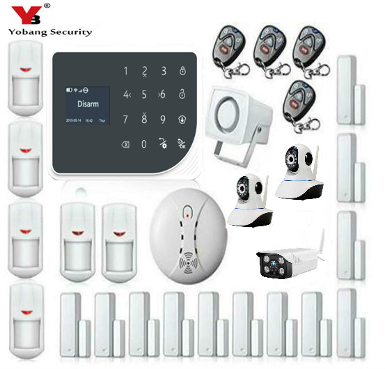 YoBang Security Wireless WIFI GSM font b Alarm b font System GPRS Touch Keyboard Indoor Outdoor