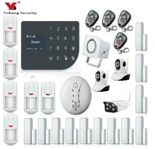 YoBang Security Wireless WIFI GSM Alarm System GPRS Touch Keyboard Indoor Outdoor Video IP Camera+Smoke Fire Alarm.