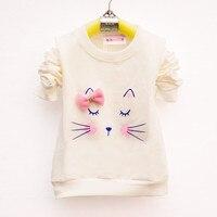 Lawadka/футболка с рисунком кота для маленьких девочек, спортивные футболки с длинными рукавами и полосками для девочек, хлопковая детская одежда