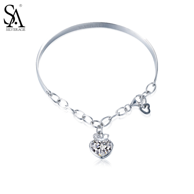 SA SA SILVERAGE Real 925 Sterling Silver Heart Pendant Chain Charm Bracelet for Women Bangles Wristbands for Women's Wrist цена