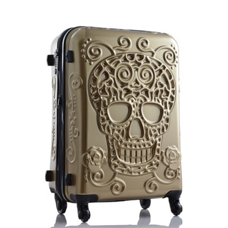 Letrend 3D Skull Rolling Luggage Spinner Women rose Gold Suitcases Wheels Cabin Trolley Travel Bag 20/24/28 inch Carry On Trunk letrend 3d colorful rolling luggage spinner women rose gold suitcases wheels cabin trolley travel bag 20 24 inch carry on trunk