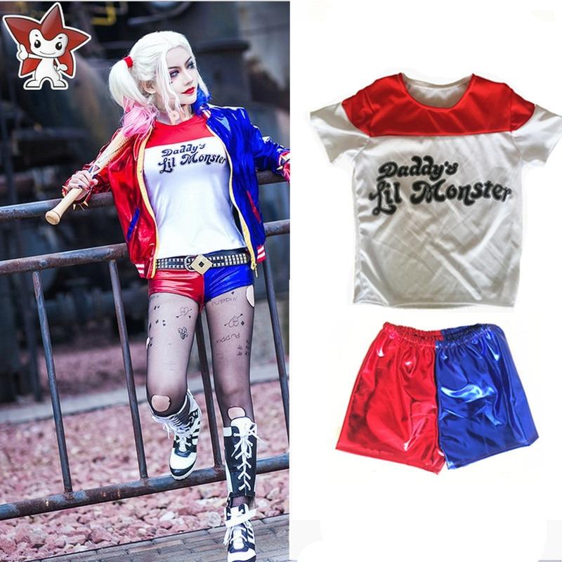 New Batman Suicide Squad Harley Quinn Cosplay Costumes Woman Femme T-shirts Shorts Chamarras De Batman Para Mujer