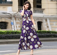 XXXL Women Long Dress 2017 Summer Stand Collar Floral Print Vintage Button Short Sleeve Plus Size