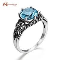 Tuker Luxury Flower Round Blue Crystal Ring Fashion 925 Sterling Silver Jewelry Men Wedding Rings For