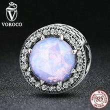 VOROCO 925 Sterling Silver Corazones Radiante, opalescente Pink Crystal & Clear CZ Fit Pandora Pulseras DIY Joyería de Moda S391