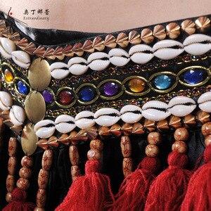 Image 5 - Vermelho tribal fusão trajes de dança do ventre conjunto de 3 peças sutiã, cinto e haren calças gypsy traje calças de dança do ventre trajes