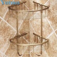 Free envío libre acabado de latón antiguo montado en la pared baño ducha champú titular de moda de doble capa estante de la canasta yt7006