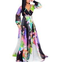 New Fashion Women Floral Chiffon Dress Sexy Deep V-neck Long Sleeve Hollow Out Maxi Dress Elagant Vintage Party Femme Vestidos