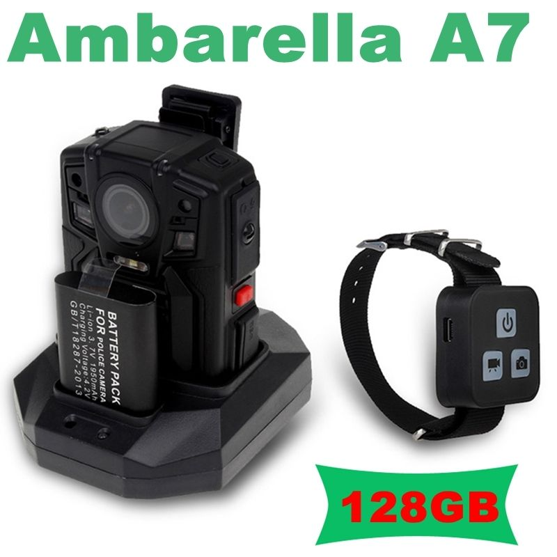 Free shipping!Ambarella A7 Police Body Worn Camera 128GB HD 1296P Night Vision+Remote Control free shipping ambarella a2 1080p 30fps hd police camera police body worn camera action body police camera