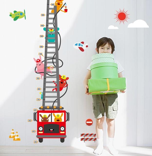 Diy fire engine height chart kids baby room decoration wall stickers cartoon car ruler poster also rh aliexpress