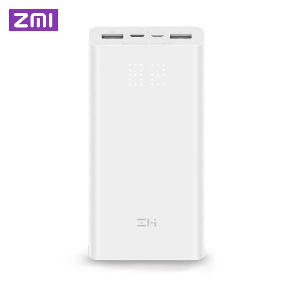 ZMI Xiaomi Power Bank 20000 mah bateria externa de carregamento portátil Display Digital de Energia QB821 QC3.0 Dual USB 20000 mah Powerbank
