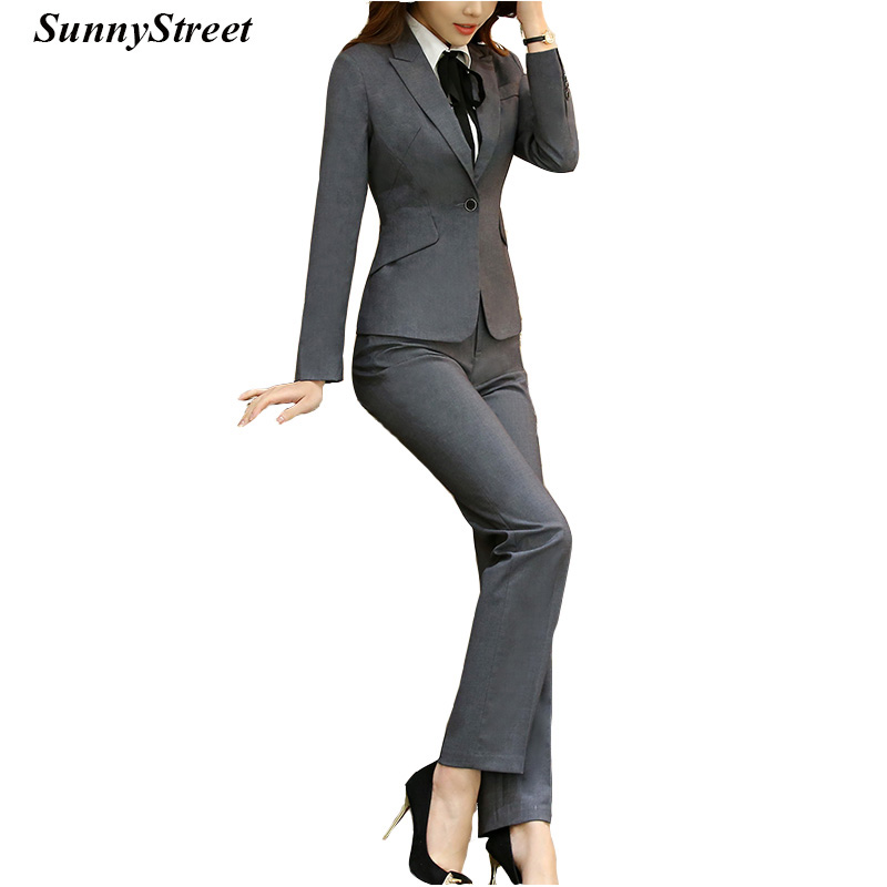 Womens Business Blazer Pant Suit Set Office Ladies Work Wear Jacket and Pant 2 pieces Tailor Suit Formal Grey Black Navy Wine