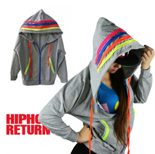 New Fashion Autumn and Winter Hoodies for Women Fluorescence Loose Candy Female Hip Hop Dance Costumes Zipper Outwear