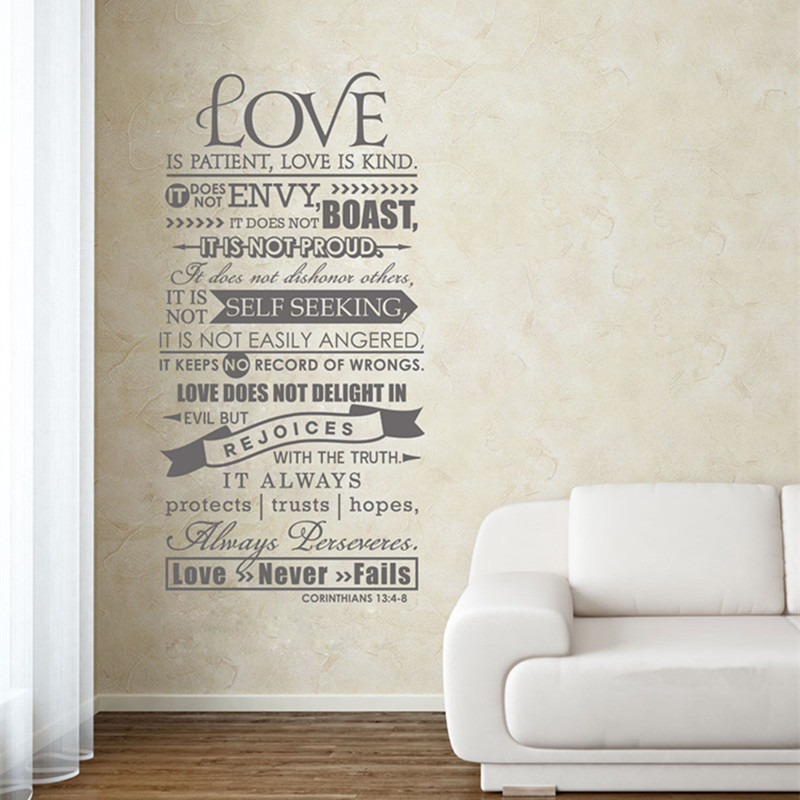 Delicieux Corinthians 13 Christian Wall Decal Love Wall Decal Scripture Wall Decal  Bedroom Family Room Home Decor Vinyl Lettering In Wall Stickers From Home U0026  Garden ...