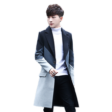 New Men's Patchwork Long Coats & Jackets Stylish Male Casual Jacket Slim Handsome Hot Sales Comfortable Men Trench Size S M -3XL