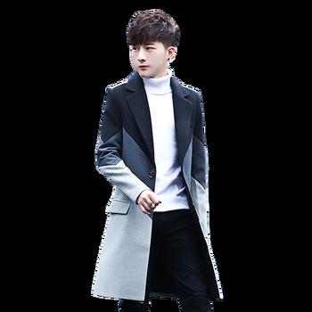 Nouveau hommes Patchwork Long manteaux & vestes élégant mâle décontracté veste Slim beau offres spéciales confortable hommes Trench taille S M-3XL