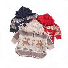 New Knitted Baby Coat Cartoon Deer Hooded Infant Jacket Coats Outerwear Baby Cloak Clothes 1PC