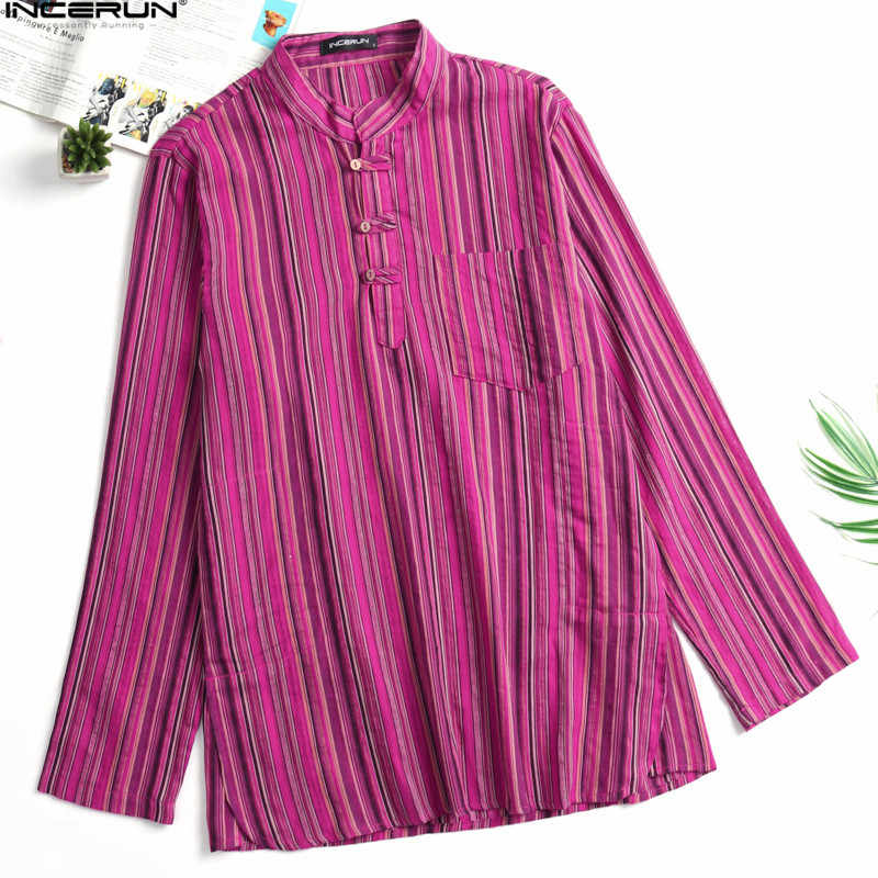 973ccf20 ... INCERUN 2018 Men's Shirts Long Sleeve Striped Stand Collar Ethnic Male  Tops Pockets Leisure Loose Retro ...