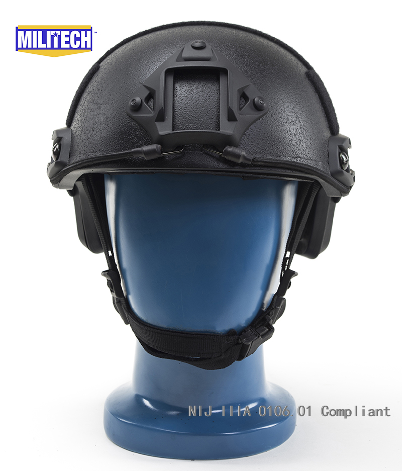 Certificato ISO 2019 nuovo casco balistico aramide antiproiettile MILITECH BK NIJ Level IIIA 3A FAST High XP Cut con 5 anni di garanzia