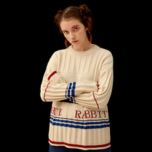 Winter Vintage Sweaters Women Pullover Knitted Top Original Design Cotton Cartoon Rabbit 2017 New Autumn Casual Female Knitwear