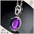 Good Quality Lady Gifts Jewelry Oval Design 925 Sterling Silver Pendant With Natural Purple Crystal