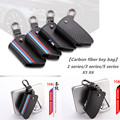 1pc Carbon fiber leather Smart Remote Key Case Cover Holder Key Chain Cover Remote For BMW 1 3 5 6 7 Series X1 X3 X4 X5 X6