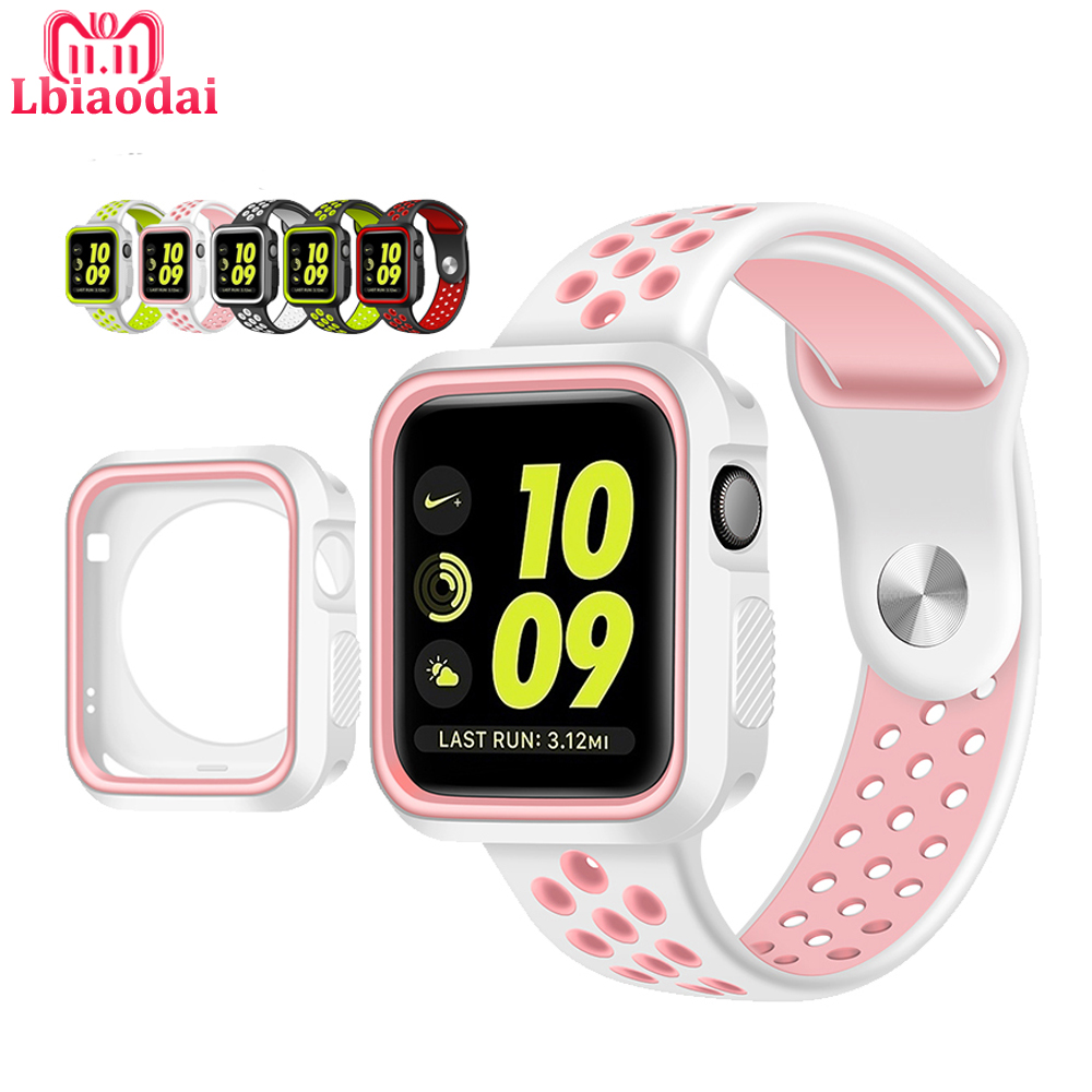Sport Silicone Strap For Apple Watch Band 42mm 38mm iwatch series 3/2/1 rubber bracelet wrist watches Belt watchband cover