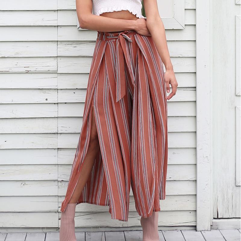 Fanco Split Striped Lady Wide Leg   Pants   Women Summer Beach High Waist Trousers Chic Streetwear Sash Casual   Pants     Capris   Female