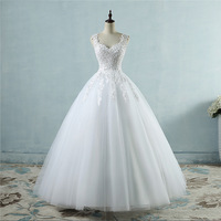 Ball gown spaghetti with white ivory tulle wedding dress 2019 with pearl wedding dress marriage customer custom size
