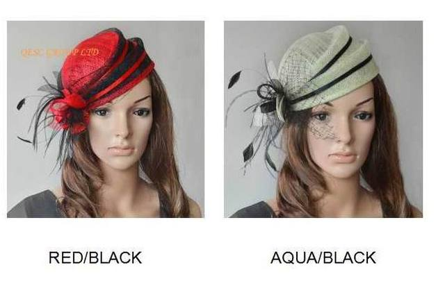 Sinamay bridal fascinator mini hat with feathers for formal ocassion kentucky derby.2pcs/lot.can pick the colors. FREE SHIPPING