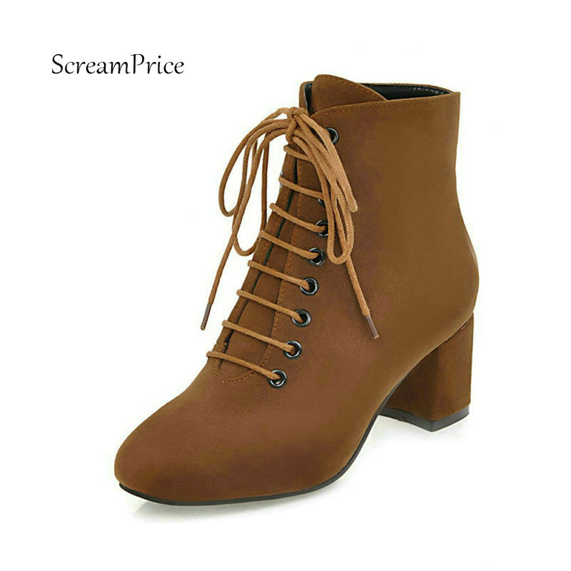 Women Flock Thick High Heel Ankle Boots Lace Up Square Toe Casual Comfortable Shoes Woman Black Brown Green new high heel thick heel ankle boots for women platform lace up women boots casual shoes woman