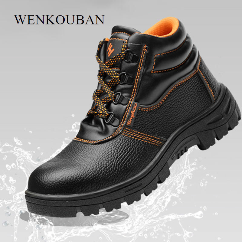 Safety Shoes Men Work Boots Male Steel Toe Cap Work Shoes Waterproof Men Ankle Boots Winter Footwear Constructionbota Masculina image