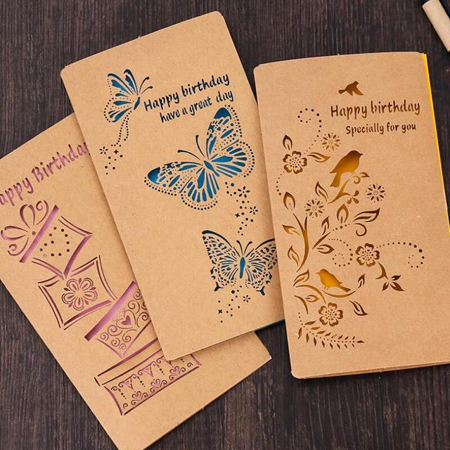 20pcspack large retro birthday card kraft paper color hollow letters greeting cards birthday cards - Birthday Card Packs