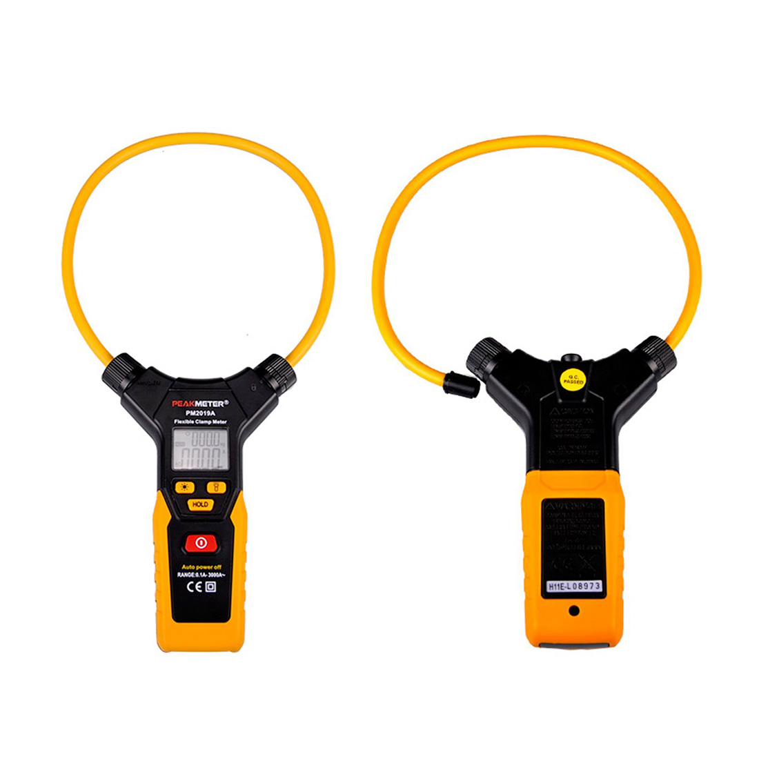 PEAKMETER PM2019A AC Digital Flexible Clamp Meter Orange with Large Size de 3100r pocket size ac digital clamp meter