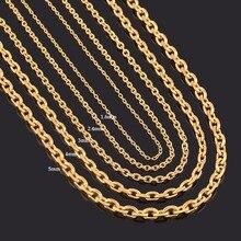 Ширина 1,6 мм/2,4 мм/3 мм/4 мм/5 мм нержавеющая сталь Роло цепь в золотом цвете высокое качество Шарм Кулон звено ожерелье цепь