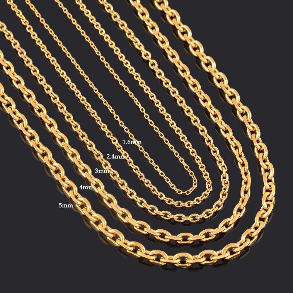Width 1.6mm/2.4mm/3mm/4mm/5mm Stainless Steel Rolo Chain In Gold Color High Quality Charm Pendant Link Necklace Chain Wholesale